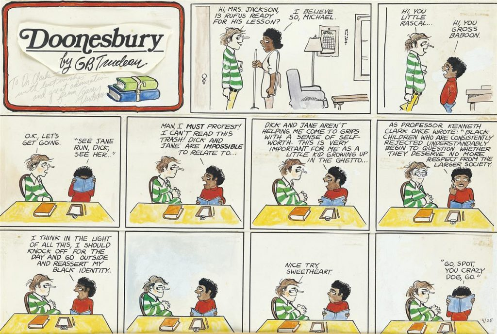 Lot 256, Gary Trudeaus Doonesbury comic strip with features 11 panels with the character Rufus discussing school and learning about his black identity with his tutor.