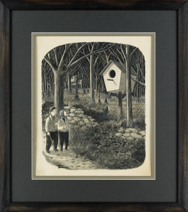 Lot 258, framed illustration by Charles Addams featuring a couple walking past a giant birdhouse in the woods.