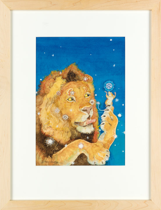 "Lot 38, Jerry Pinkney's illustration for the cover of School Library Journal which features titular characters from ""The Lion & The Mouse"" catching snowflakes on their tongues."