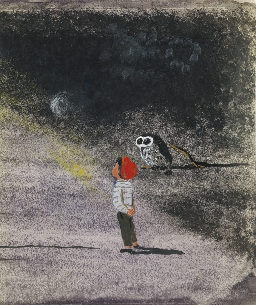 "Lot 51, Helen Stone's working archive of illustrations for ""Tell Me, Mr. Owl"" featuring a little boy in a red cap looking up at the moon while an owl sits on a branch."