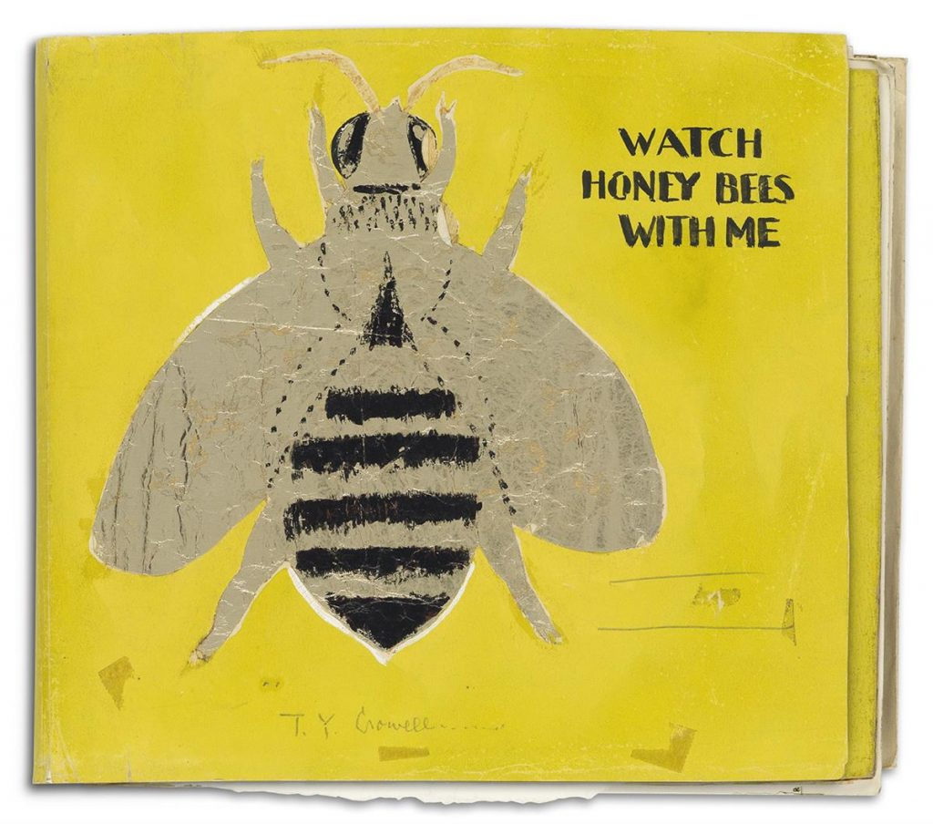"Lot 52, Helen Stone's working cover of ""Watch Honey Bees with Me"" featuring a large honey bee on a yellow background."