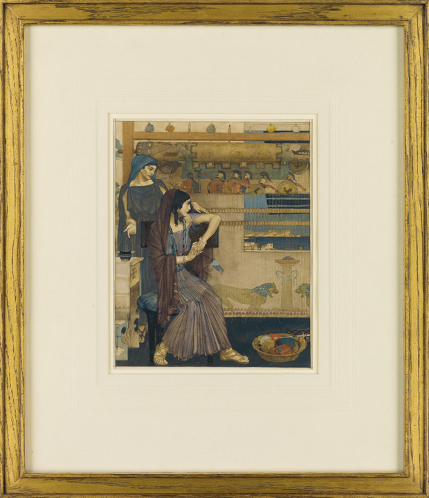 "Lot 63, illustration by Sir William Russel Flint for the ""Odyssey"" showing Penelope weaving her shroud with her handmaid while waiting for Odysseus to return"