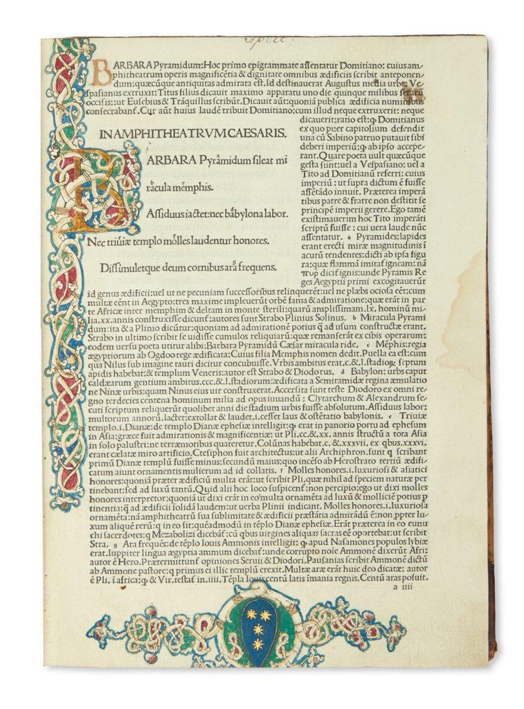 Illustrated bookpage of Marcus Valerius Martialis's Epigrammata.