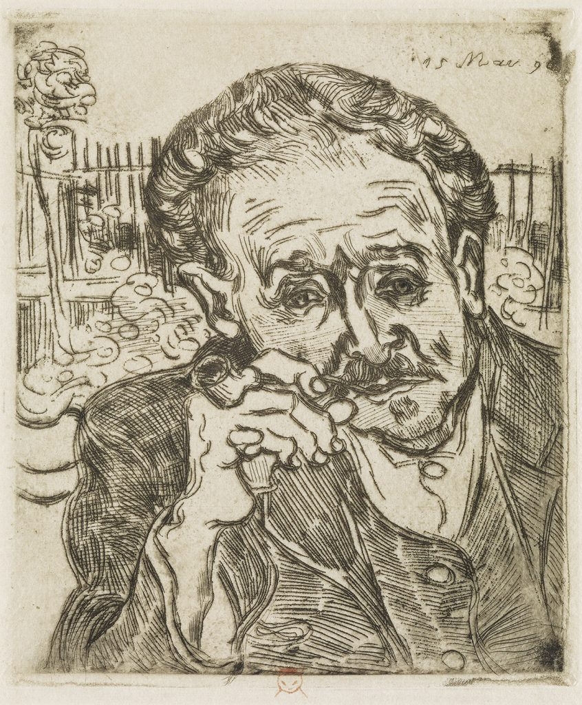 Etching of Dr. Gachet smoking a pipe by Vincent van Gogh