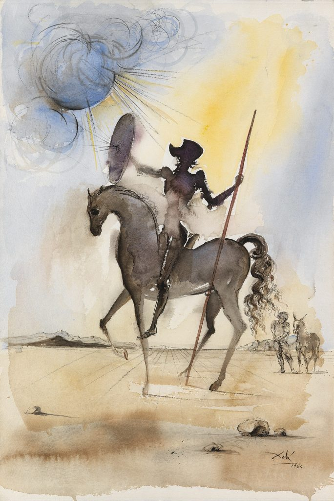 Watercolor of Don Quixote on his horse by Salvador Dalí