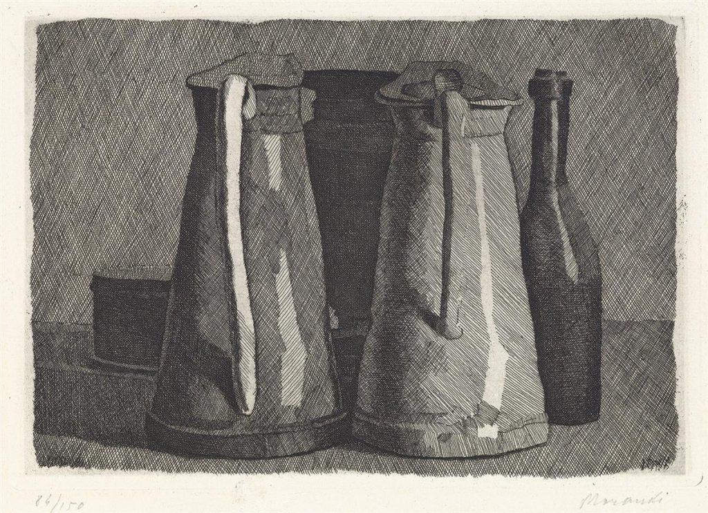 Black and white still-life etching by Giorgio Morandi of water pitchers.