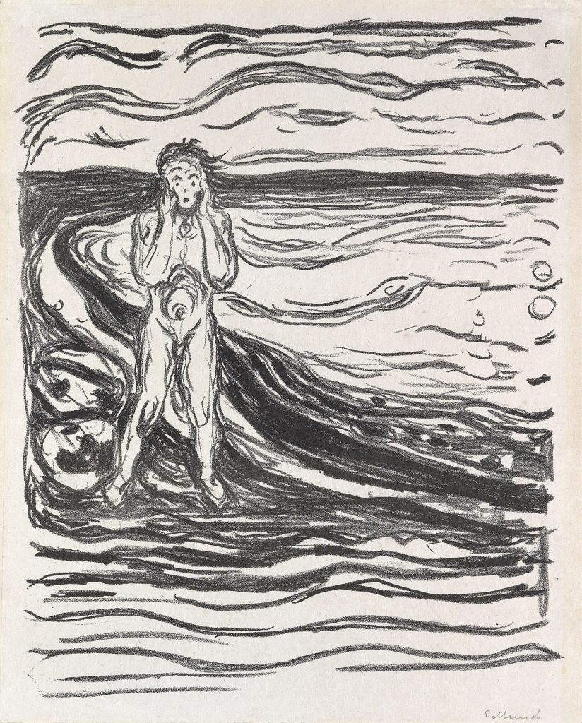 "Black and white lithograph by Edvard Munch of a male figure grapsing his face in an ""oh no"" position."