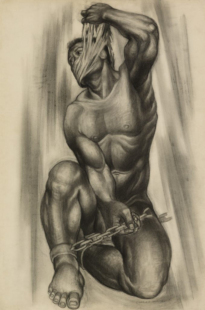 Charcoal drawing of an enchained figure by Charles White.