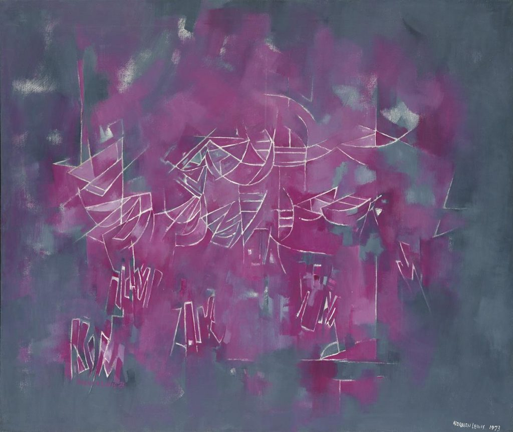An abstract painting in magenta and gray by Norman Lewis.
