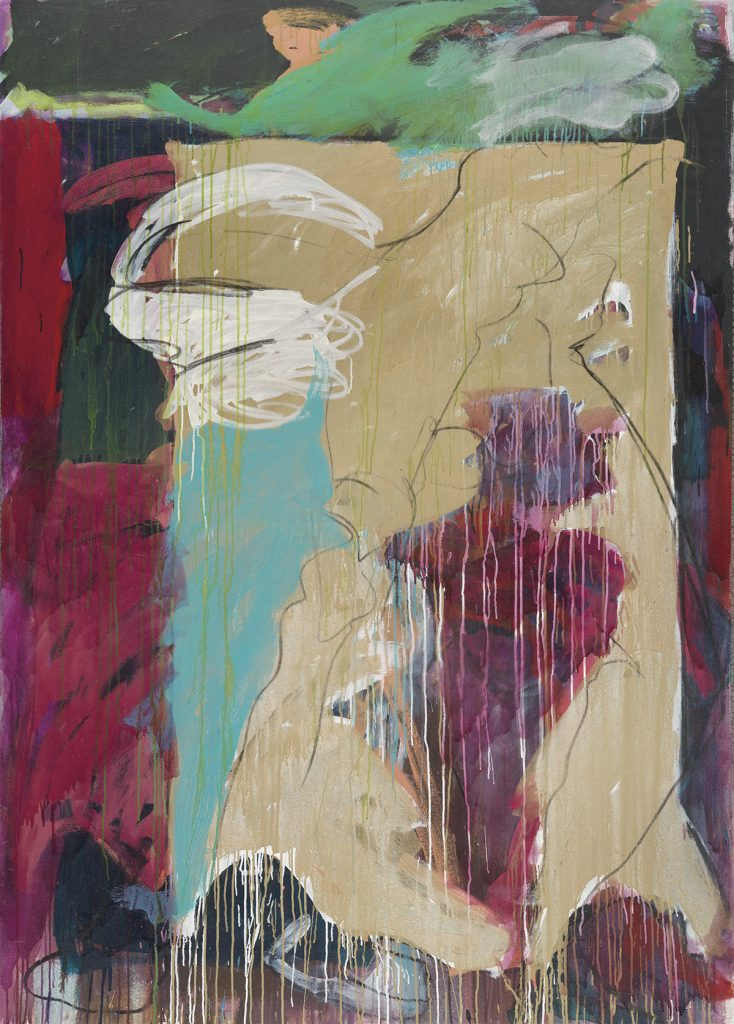 An abstract painting in greens, purples, tans, and blue by Mary Lovelace O'Neal.