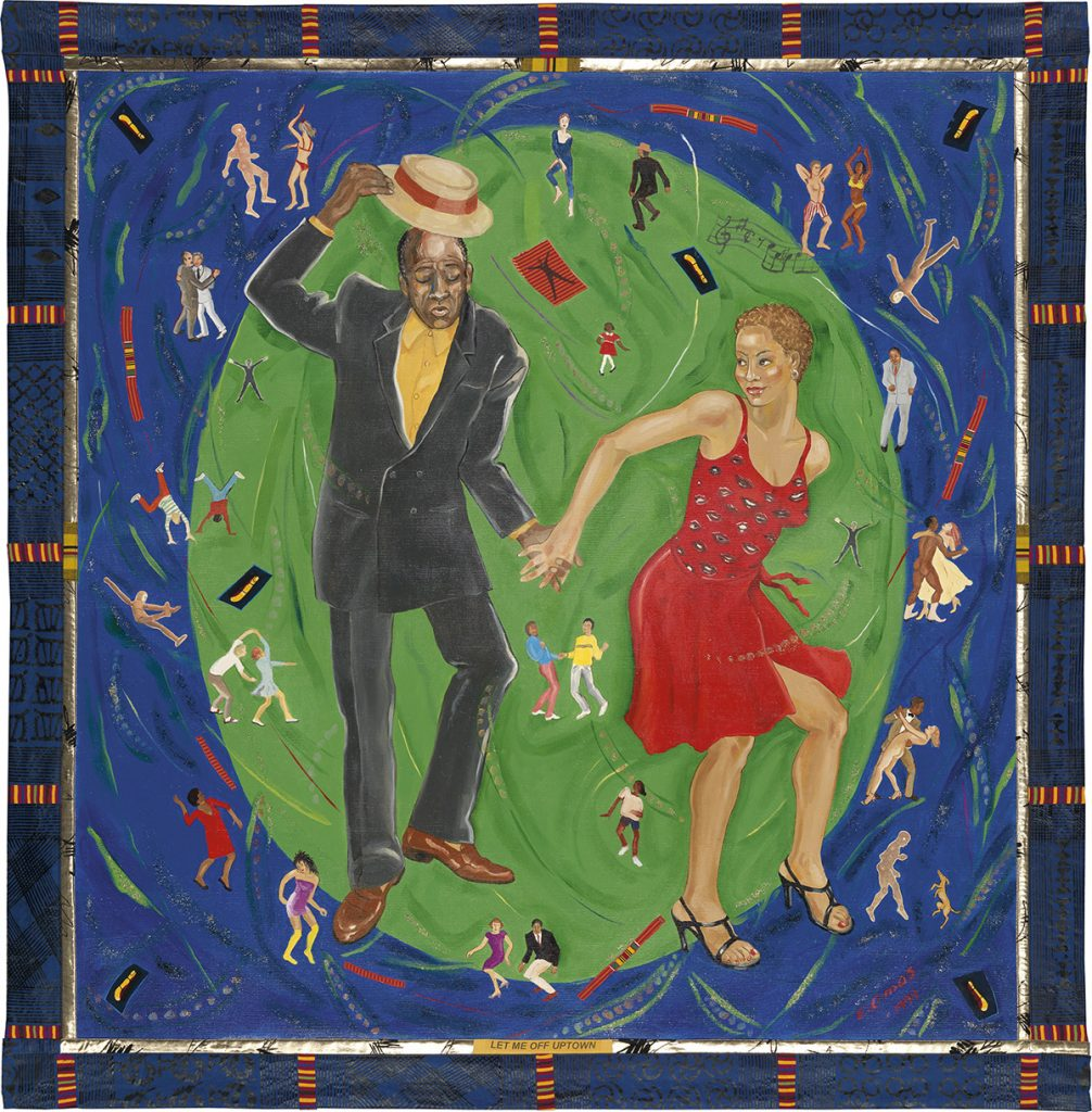 A painting on fabric of a young African American couple dancing by Emma Amos.