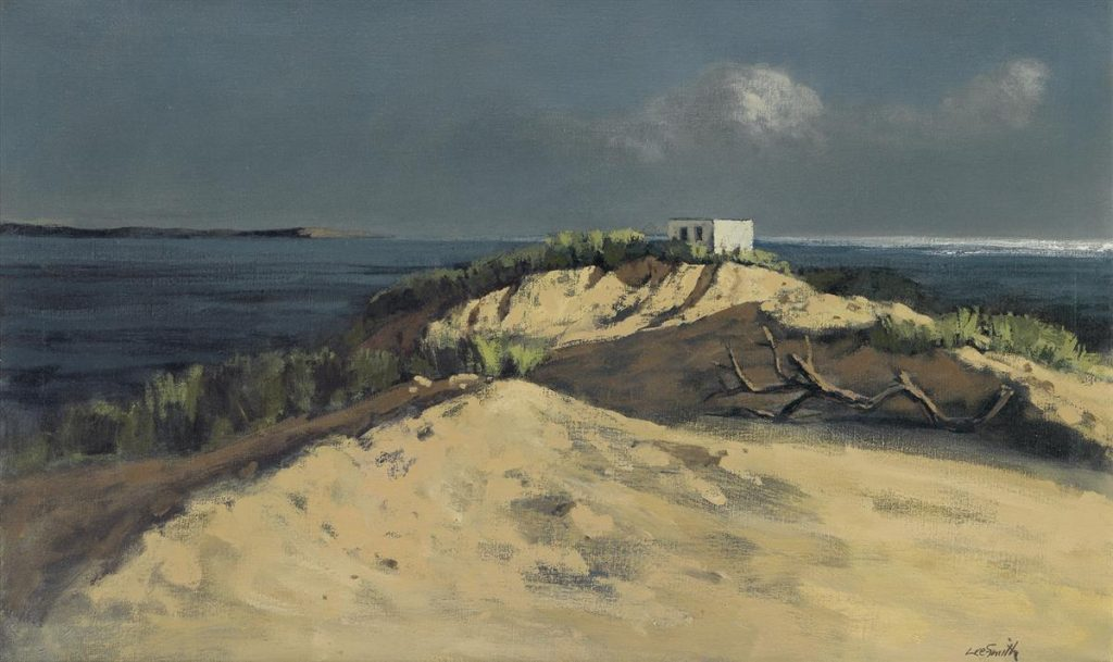 A painting of sand dunes with the sea in the background by Hugh Lee-Smith.