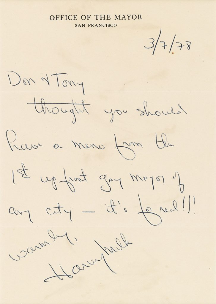 "A letter written and signed by Harvey Milk on ""Office of the Mayor of San Francisco"" stationary."
