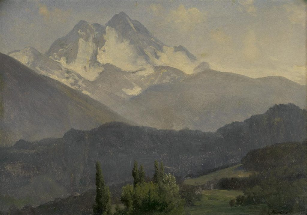 Realistic oil painting of the Rocky Mountains by Albert Bierstadt.