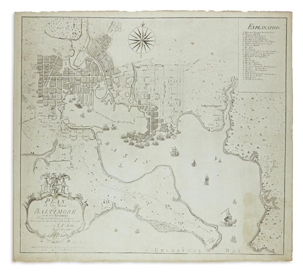 Plan for the town of Baltimore by A.P. Folie from 1792.