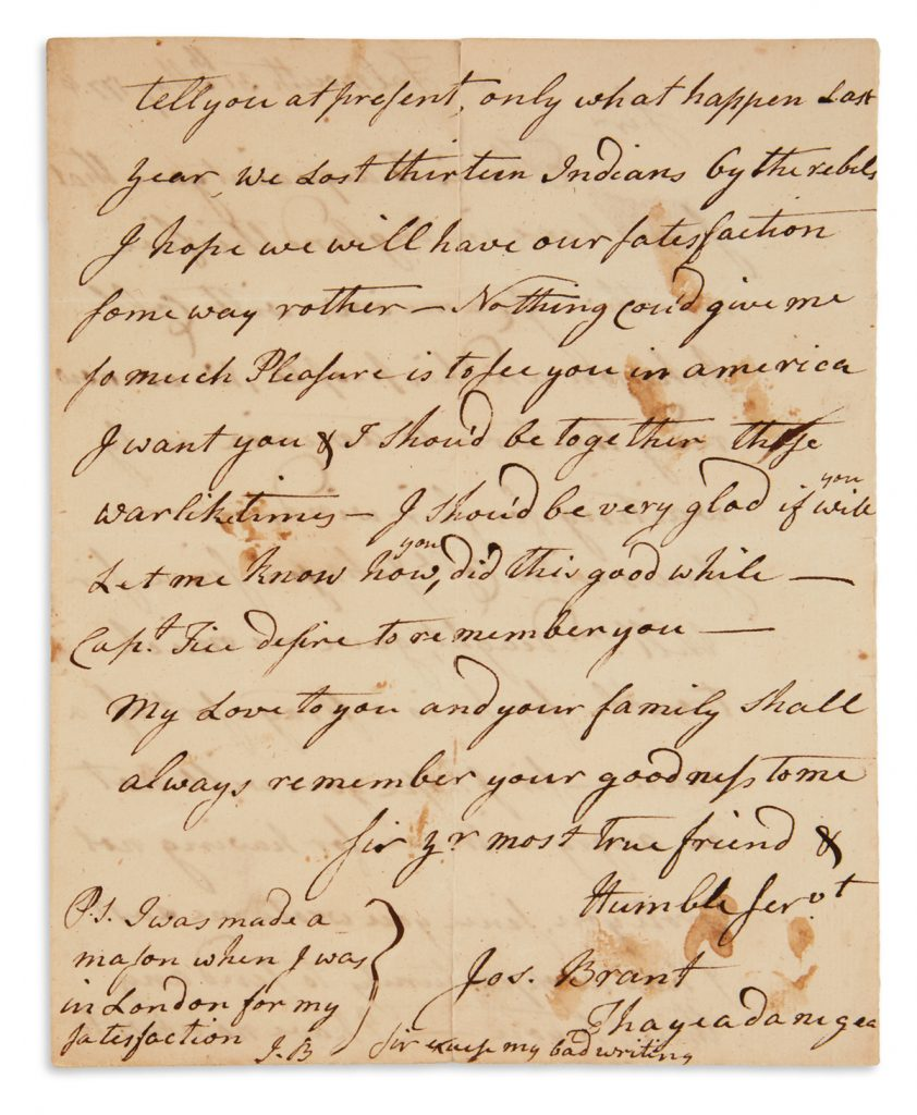 An autograph letter from Mohawk Chief Joseph Brant.