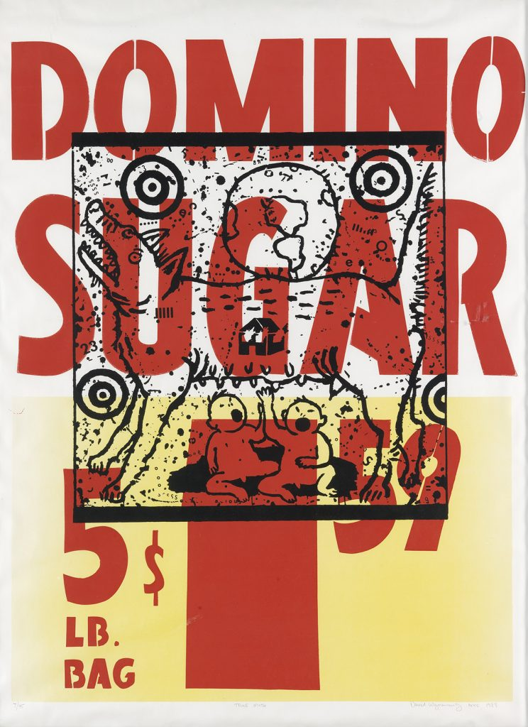 Image reading DOMINO SUGAR, 5LB BAG, $1:59 with an image of a dog and two children laid over top by David Wojnarowicz.