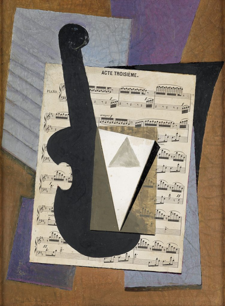 Abstract painting of a violin on top of sheet music by Suzy Frelinghuysen.