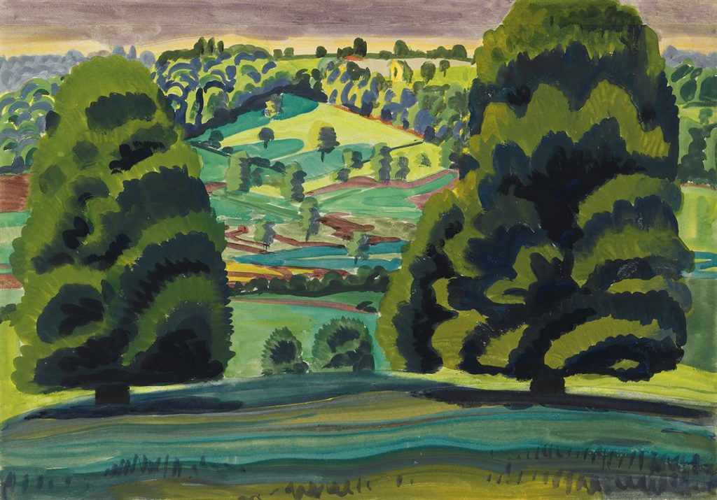 A loosely rendered watercolor of a hilltop landscape by Charles Burchfield.