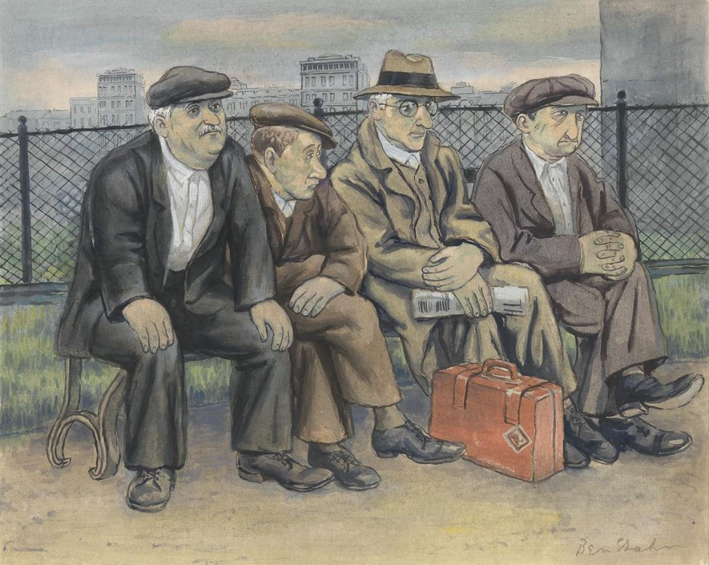 A cartoonish painting of four men sitting on a bench by Ben Shahn.