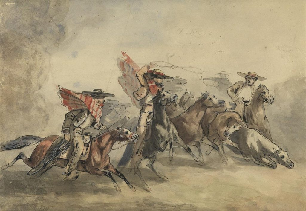 A watercolor scene of cowbys roping and lassoing horses.