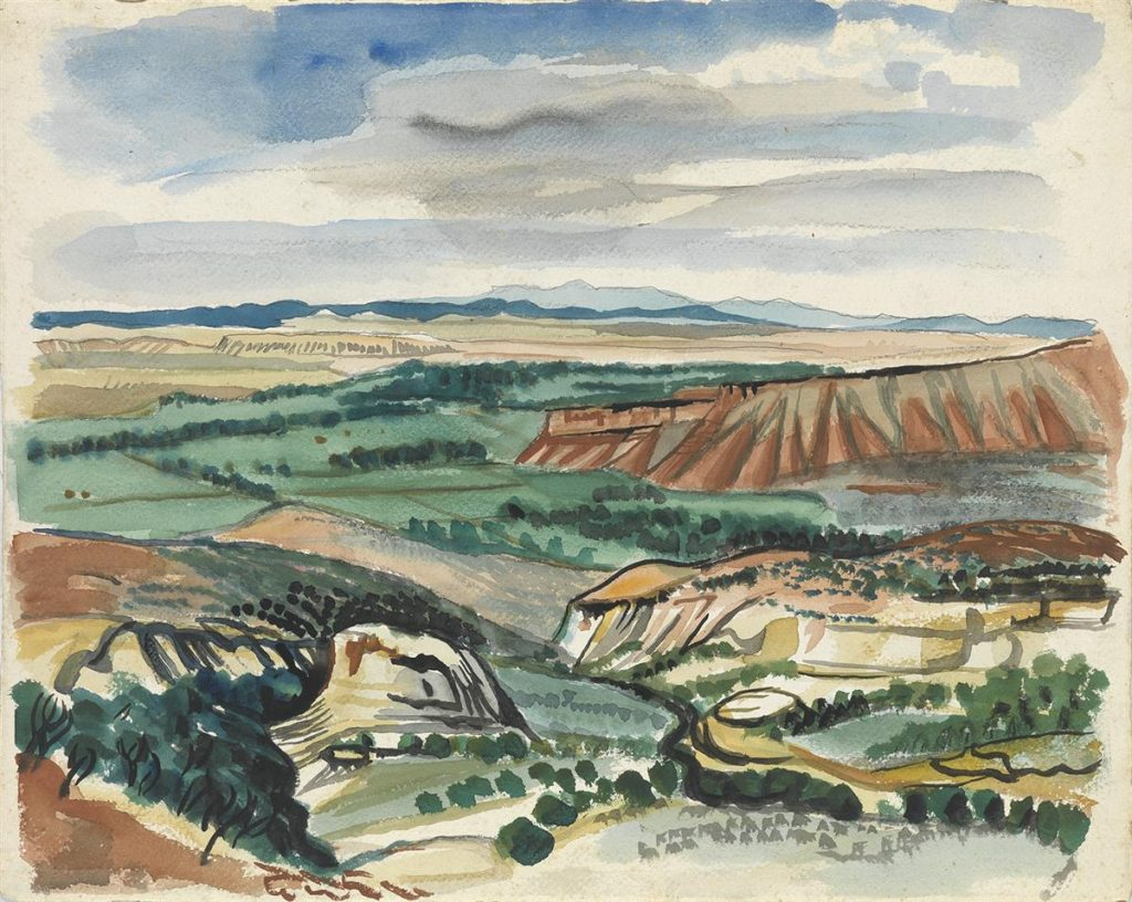 A loose watercolor scene of the southwest showing plateaus.