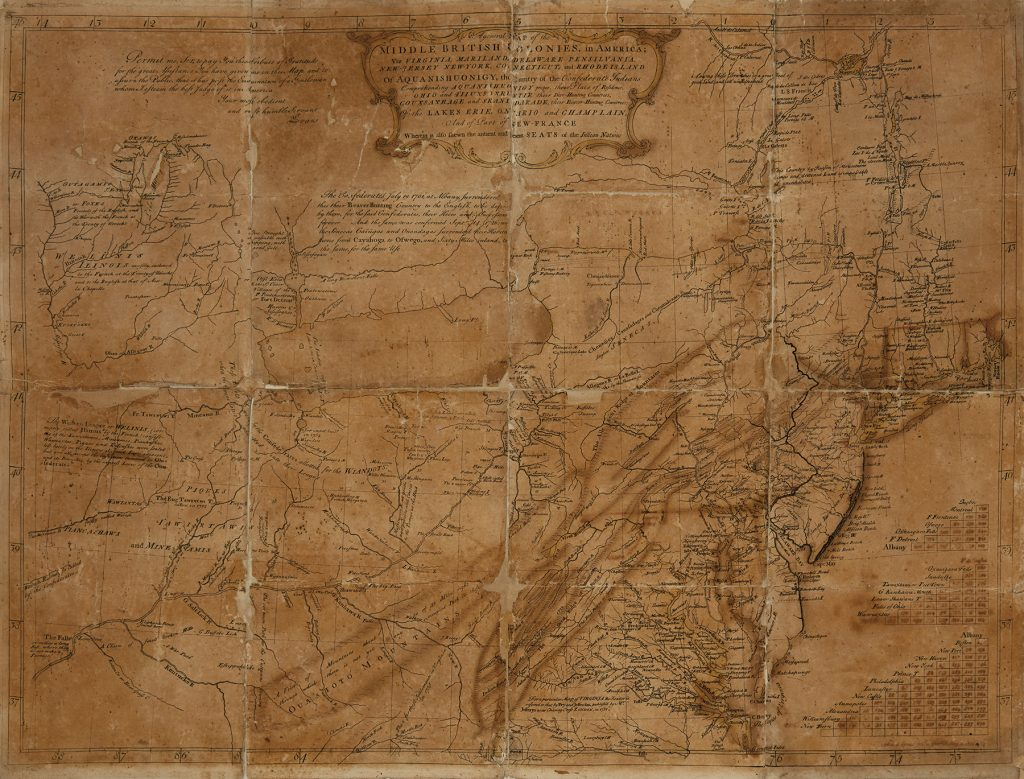 """Lewis Evans """"General Map of the Middle British Colonies in America,"""" 1755."""