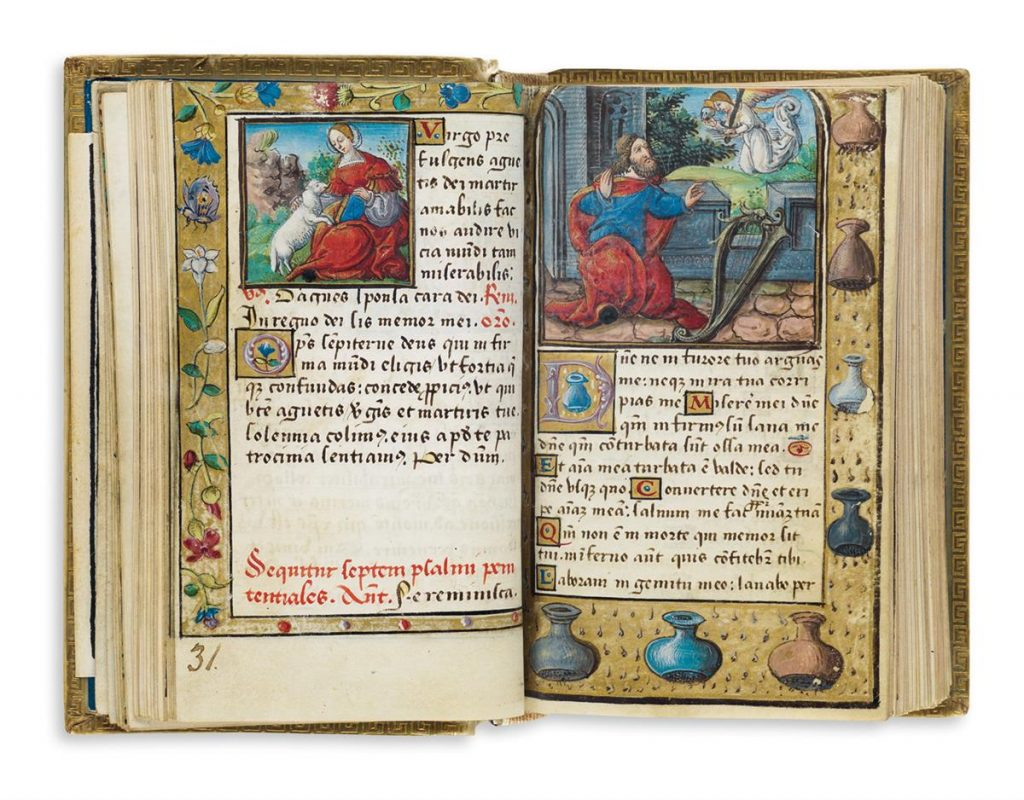 Double-page spread in an illuminated prayer book in Latin and French with illustration from the bible.
