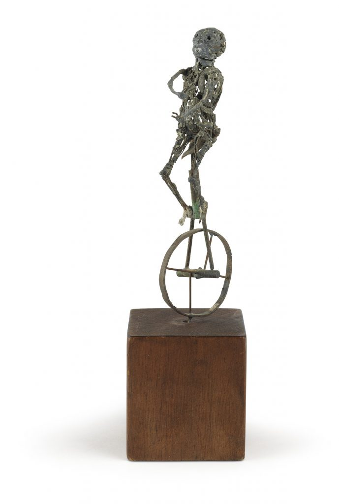 Richard Hunt, Unicycle, soldered wire, circa 1956. $3,000 to $5,000.