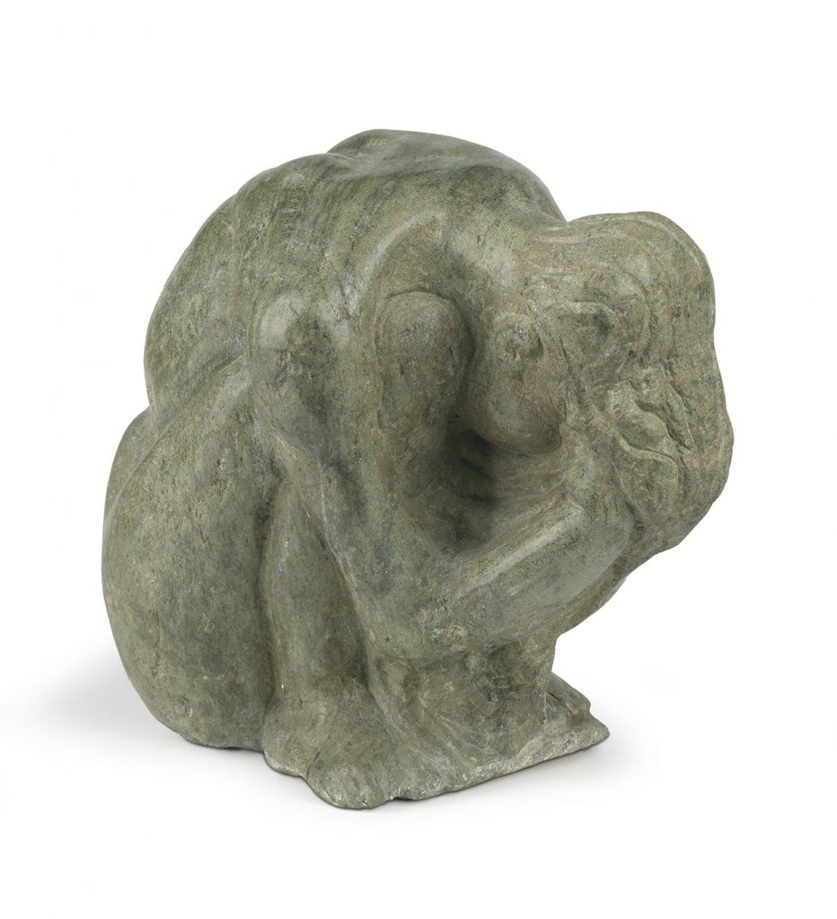 Selma Burke, Sadness, carved green marble, 1970. $12,000 to $18,000.