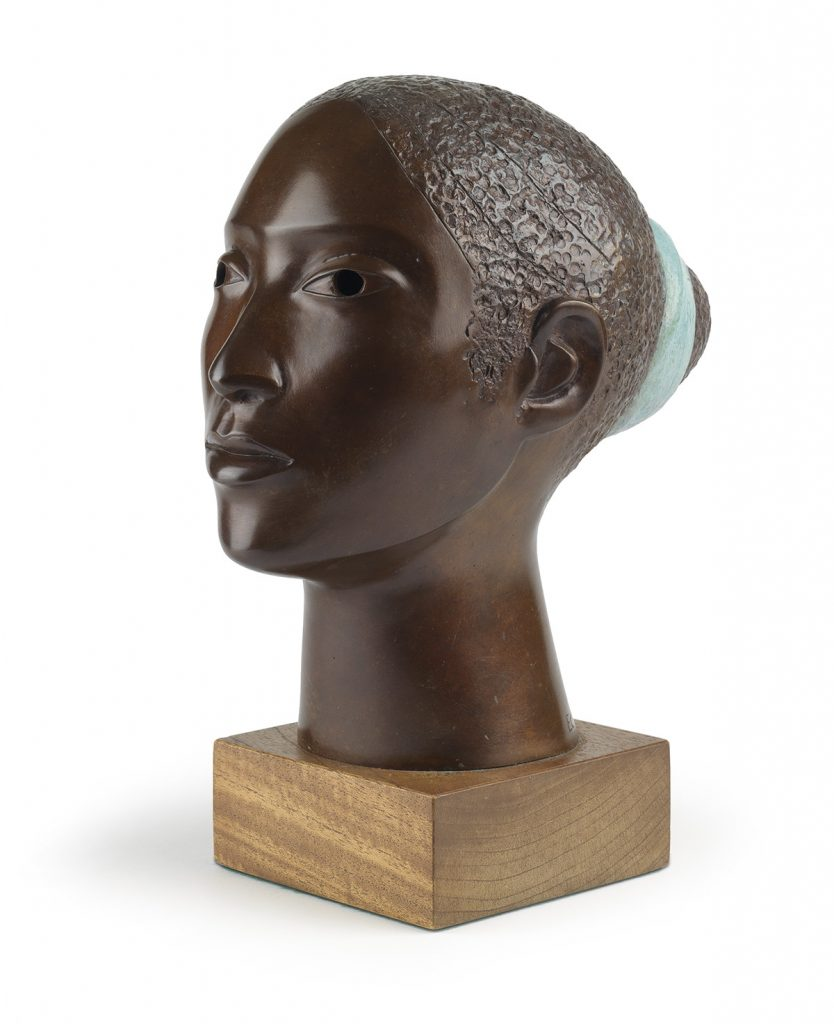 Elizabeth Catlett, Naima, cast bronze with patina and polychrome, 1998. $25,000 to $35,000.