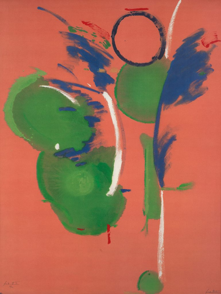 Helen Frankenthaler, Mary Mary, color screenprint and offset lithograph, abstract image with a pink background and green and blue circles, 1987.
