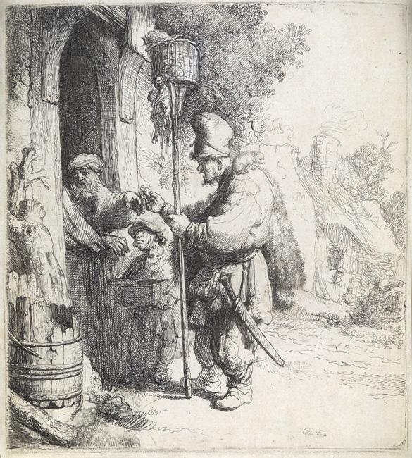 Rembrandt van Rijn, The Rat Catcher, etching & drypoint, 1632. $12,000 to $18,000.