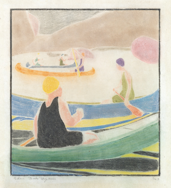 Edna Boies Hopkins, Canoes (Swift Water), color woodcut, 1917. $15,000 to $20,000.
