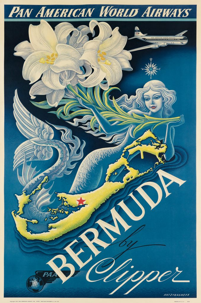 Boris Artzybasheff, Bermuda by Clipper / Pan American World Airways, a travel poster featuring tropical flowers and a mermaid, 1947.
