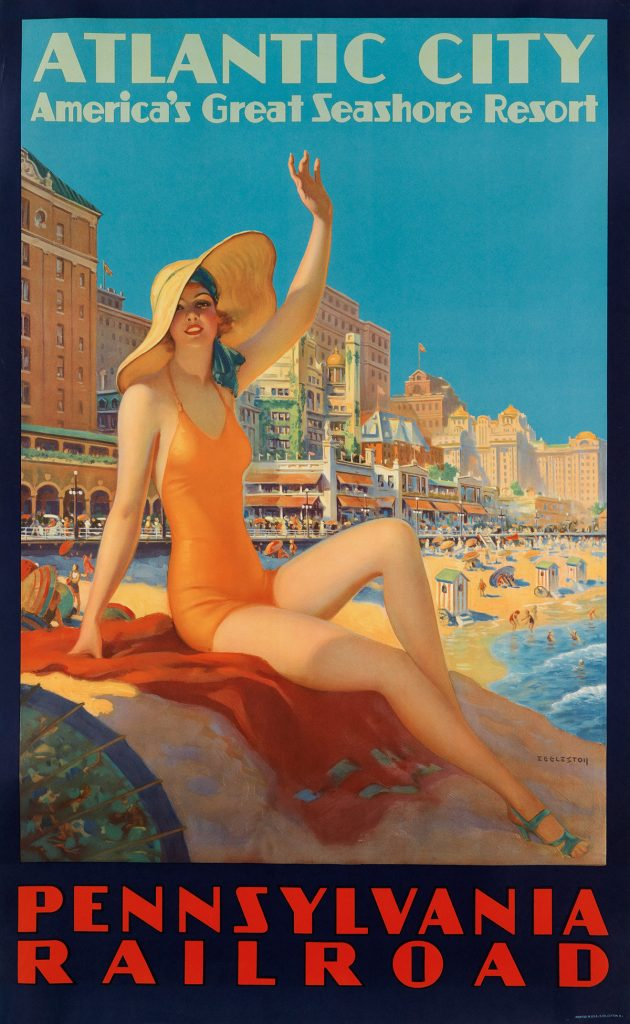 Edward M. Eggleston, Atlantic City / Pennsylvania Railraod, travel poser featuring a 1930s sunbather on the boardwalk of Atlantic City, circa 1935
