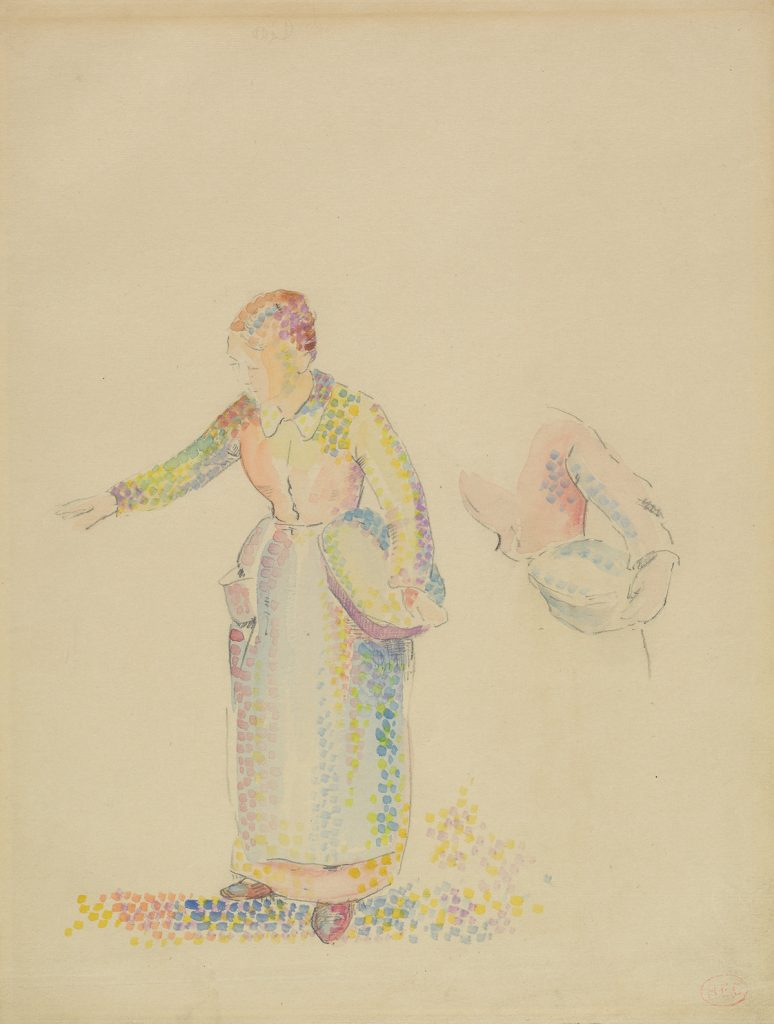 Henri-Edmond Cross, The Sower, pointillist watercolor & pencil of , circa 1890.