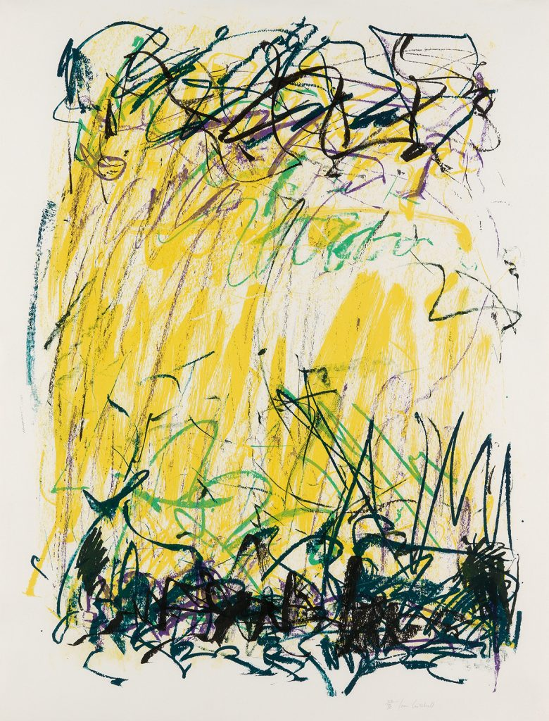 Joan Mitchell, Sides of a River II, color lithograph of an abstract work in yellow, black, purple and green, 1981.