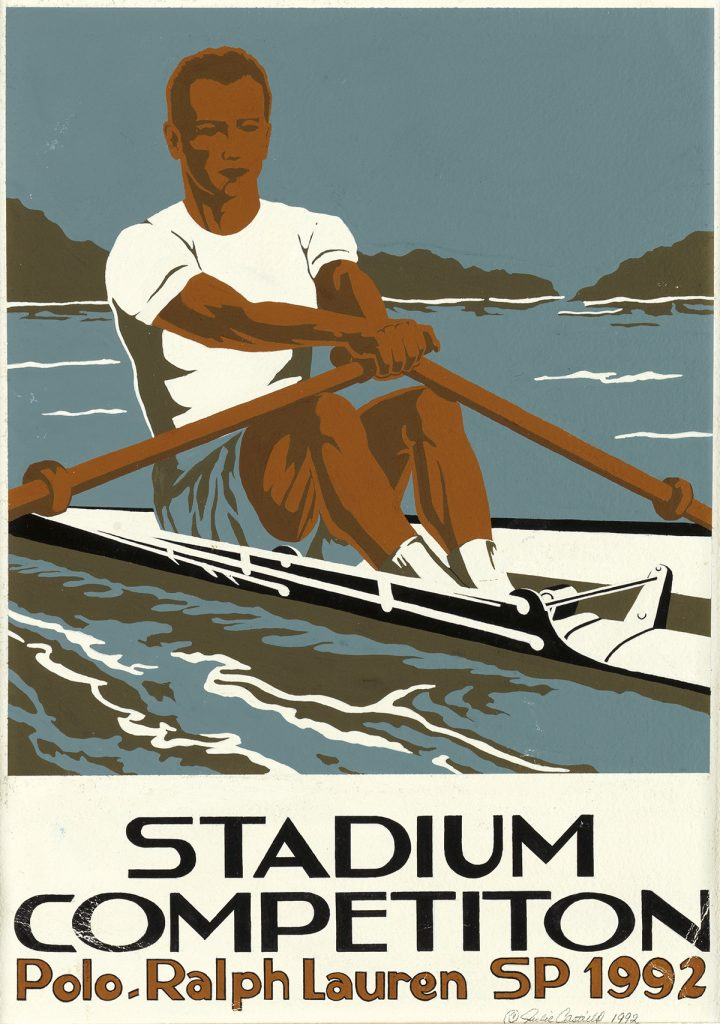 Julie Castillo, Man Rowing, original illustration for Polo Ralph Lauren Stadium Competition clothing line, 1992.