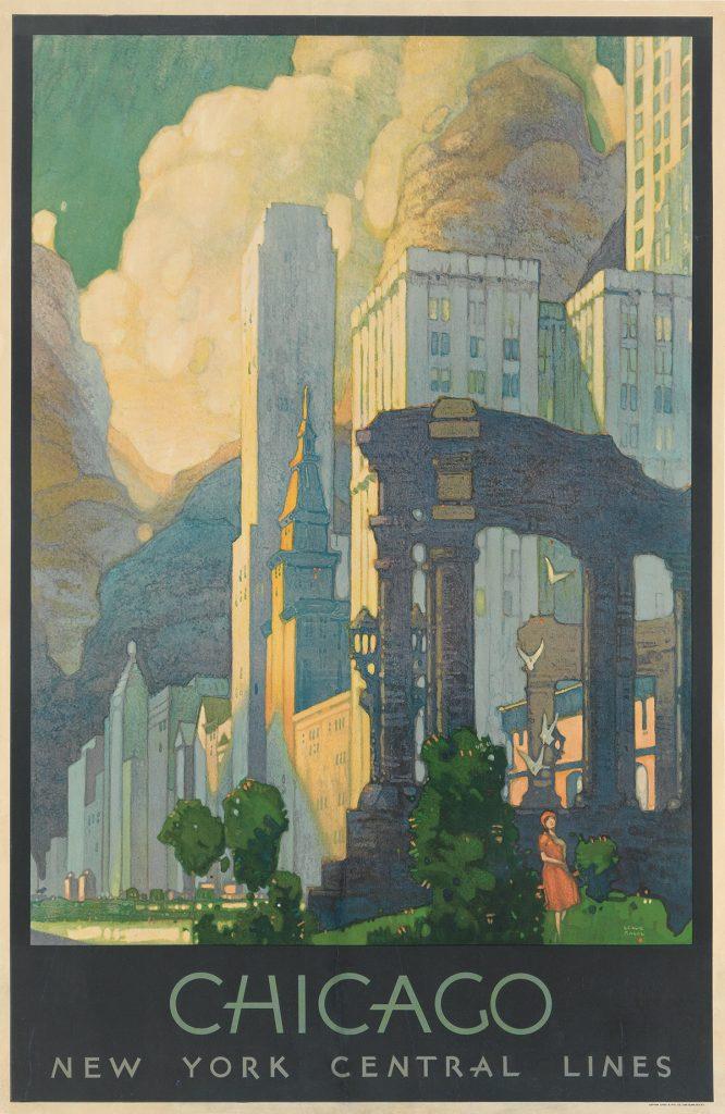 Leslie Ragan, Chicago / New York Central Lines, image of chicago park, 1929.
