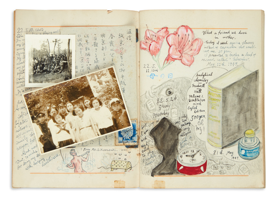 Archive of 15 illustrated diaries and maps by a young Japanese Christian, 1938-1954.
