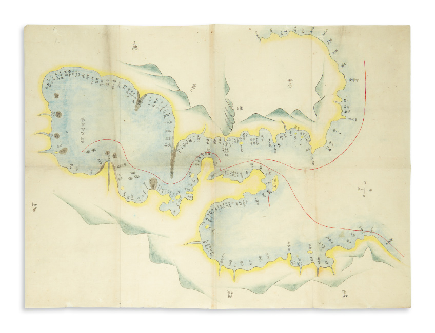 Fine manuscript map of Commodore Perry's Black Ship squadron entering Edo Bay, with manuscript sketchbook, ink and watercolor, Japan, circa 1853.