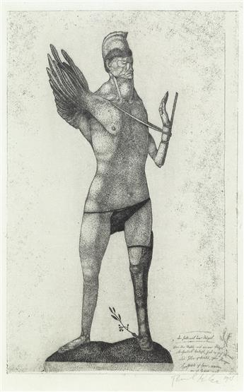 Paul Klee, Der Held mit dem Flügel—Inv. 2, etching of a mythical creature, 1905