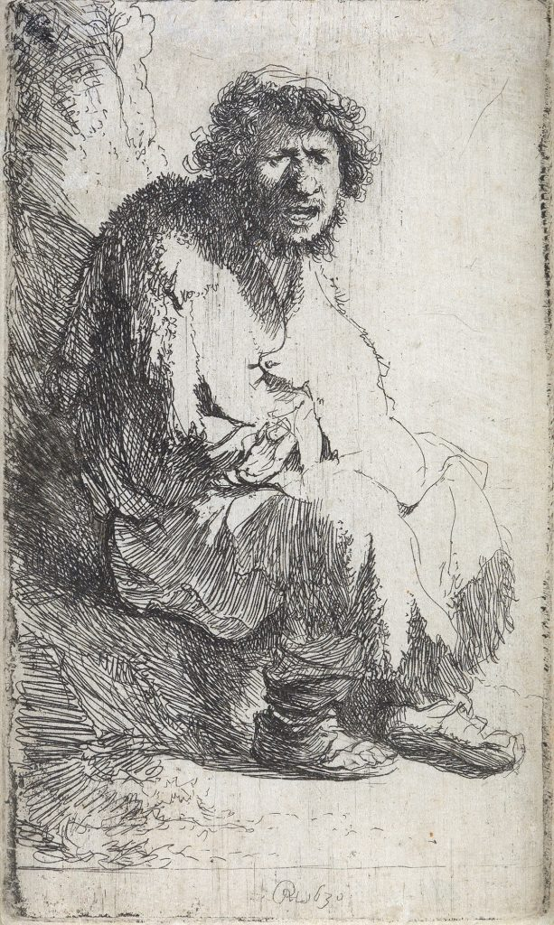 Rembrandt van Rijn, A Beggar Seated on a Bank, etching & drypoint, 1630.