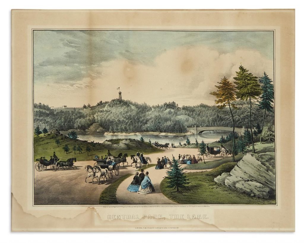 Currier & Ives, Central Park, the Lake, small format hand-colored lithograph, 1862.
