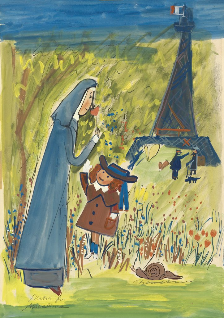 Ludwig Bemelmans, Sketch for Madeline, gouache & ink of Miss Clavel and Madeline picking flowers in front of the Eiffel Tower.