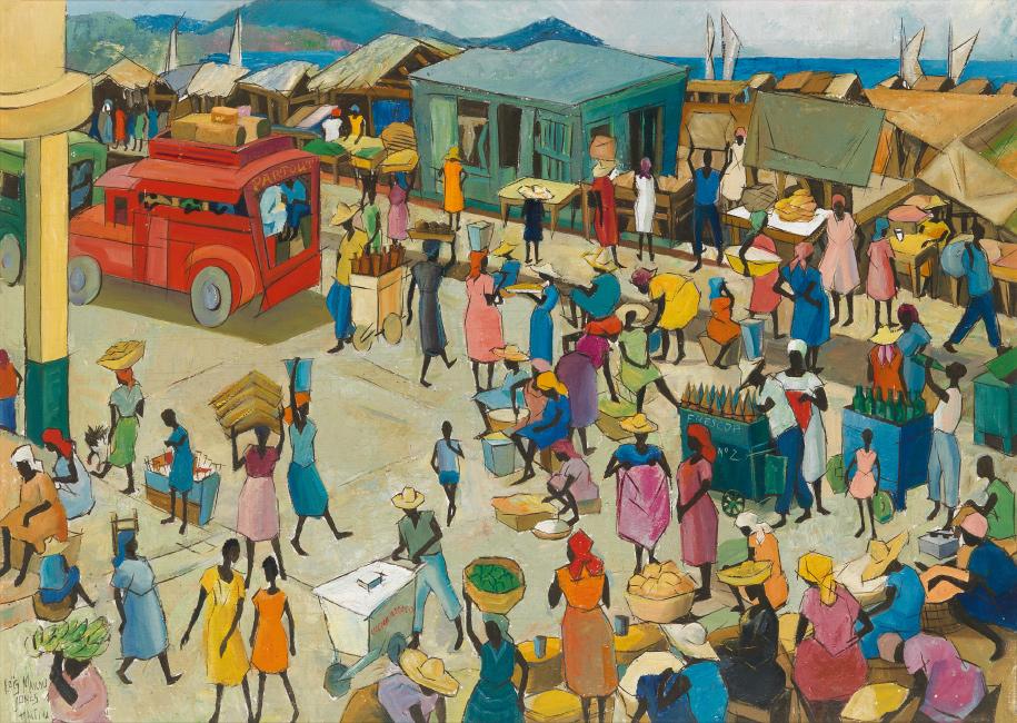 Loïs Mailou Jones, Bazar Du Quai, Port Au Prince, Haiti, oil on canvas, 1961.