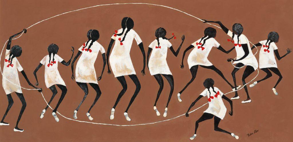 Barbara Johnson Zuber, Jump Rope, oil on canvas, circa 1970.