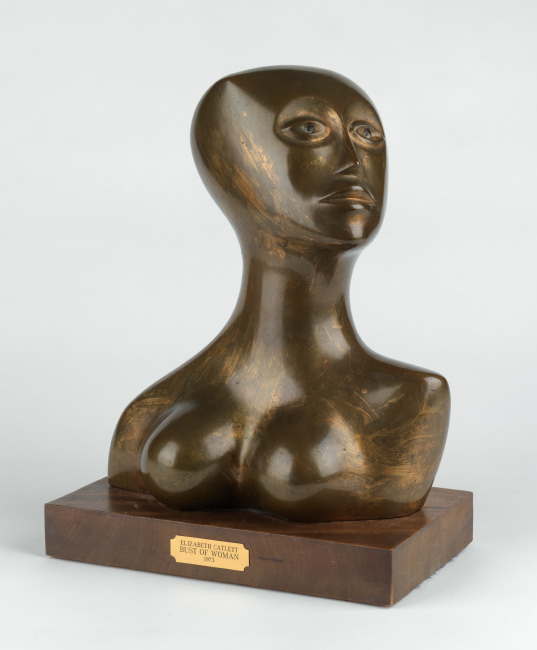 Elizabeth Catlett, Sister, cast bronze, with brushed patina and inlaid eyes, mounted on a wooden base, 1973.