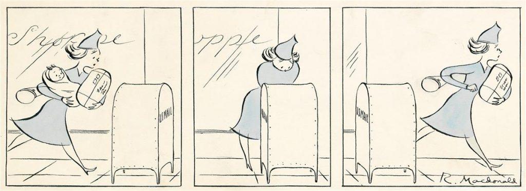 Roberta Macdonald, Delivering the Baby, pen, ink & watercolor cartoon for The New Yorker, 1941.